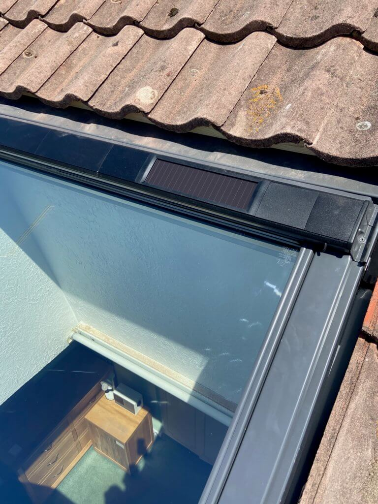 solar powered energy on velux integra window out of reach