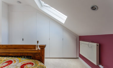 Built in wardrobes in a bedroom