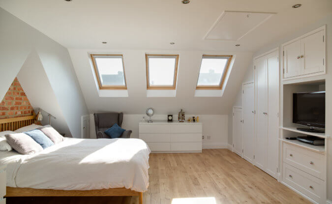 Three VELUX windows in a bedroom