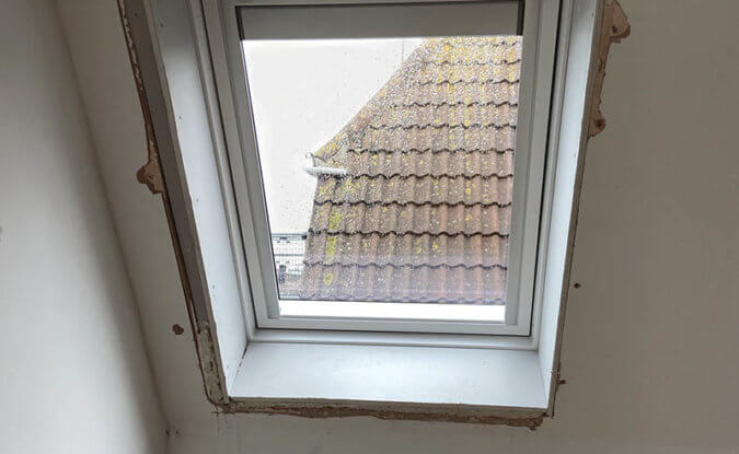A badly installed VELUX window that needs replacing